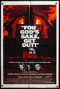 8m032 AMITYVILLE HORROR 1sh '79 AIP, great image of haunted house, for God's sake get out!