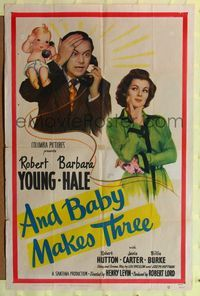 8m033 AND BABY MAKES THREE 1sh '49 Robert Young, Barbara Hale, wacky art of baby!