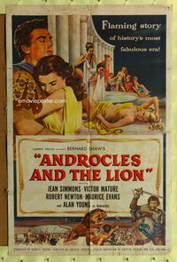 8m034 ANDROCLES & THE LION 1sh '52 artwork of Victor Mature holding Jean Simmons!