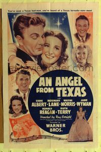 8m036 ANGEL FROM TEXAS 1sh '40 Eddie Albert, Rosemary Lane, Wayne Morris & Ronald Reagan!