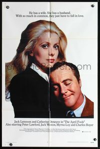 8m040 APRIL FOOLS 1sh '69 romantic close up of Jack Lemmon & Catherine Deneuve!