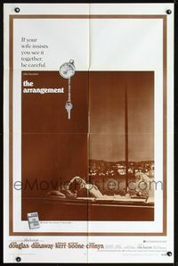 8m043 ARRANGEMENT 1sh '69 Kirk Douglas & Faye Dunaway, from director Elia Kazan's novel!