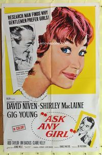 8m045 ASK ANY GIRL 1sh '59 David Niven finds why gentlemen prefer Shirley MacLaine!