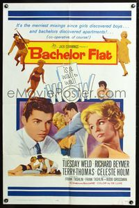 8m047 BACHELOR FLAT 1sh '62 Tuesday Weld & Richard Beymer kiss close up, a wall to wall wow!