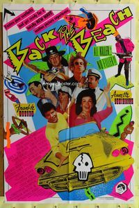 8m048 BACK TO THE BEACH 1sh '87 Avalon & Funicello w/Pee-Wee Herman, rocker Stevie Ray Vaughan!