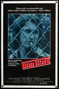 8m049 BAD BOYS 1sh '83 life has pushed Sean Penn into a corner & he's coming out fighting!