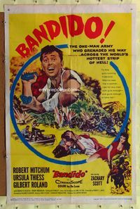 8m053 BANDIDO 1sh '56 artwork of one-man army Robert Mitchum & sexy Ursula Thiess!