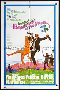8m055 BAREFOOT IN THE PARK 1sh '67 artwork of frollicking Robert Redford & sexy Jane Fonda!
