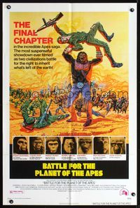 8m057 BATTLE FOR THE PLANET OF THE APES 1sh '73 great sci-fi artwork of war between apes & humans!
