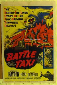 8m059 BATTLE TAXI 1sh '55 Sterling Hayden, Arthur Franz, fiery action art of helicopter rescue!