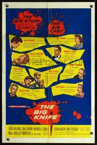 8m069 BIG KNIFE 1sh '55 Robert Aldrich, Jack Palance, Ida Lupino, Shelley Winters, Rod Steiger