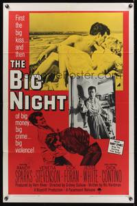8m070 BIG NIGHT 1sh '60 big money, big crime, big violence, teen thriller!