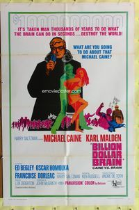 8m073 BILLION DOLLAR BRAIN style B 1sh R68 Michael Caine, Karl Malden, Ken Russell!