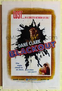 8m074 BLACKOUT 1sh '54 Dane Clark, Belinda Lee, Terence Fisher, Hammer!