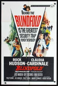 8m075 BLINDFOLD 1sh '66 Rock Hudson, Claudia Cardinale, greatest security trap ever devised!
