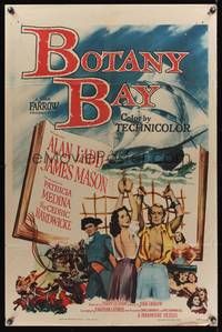 8m083 BOTANY BAY 1sh '53 James Mason, Alan Ladd & Patricia Medina bound to the rigging!