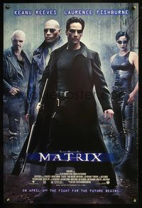 8r308 MATRIX DS advance 1sh '99 Keanu Reeves, Carrie-Anne Moss, Laurence Fishburne, Wachowski Bros!