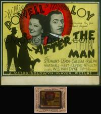 8v023 AFTER THE THIN MAN glass slide '36 William Powell, Myrna Loy & Asta the dog too!