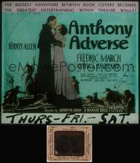 8v024 ANTHONY ADVERSE glass slide '36 full-length Fredric March & Olivia de Havilland embracing!