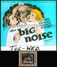 8v026 BIG NOISE glass slide '36 art of Guy Kibbee being kissed by two pretty girls!