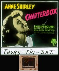 8v031 CHATTERBOX glass slide '36 c/u of Anne Shirley, small town actress who goes to Broadway!