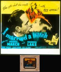 8v037 I MARRIED A WITCH glass slide '42 Fredric March kissing Veronica Lake who has HEX appeal!