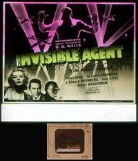 8v041 INVISIBLE AGENT glass slide '42 fx image of invisible man with WWII airplanes, Peter Lorre