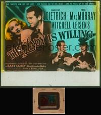 8v048 LADY IS WILLING glass slide '42 pretty Marlene Dietrich, Fred MacMurray & Baby Corey!
