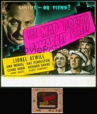 8v049 MAD DOCTOR OF MARKET STREET glass slide '42 is Lionel Atwill a genius or fiend!
