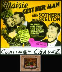 8v051 MAISIE GETS HER MAN glass slide '42 Red Skelton laughing & with sexy Ann Sothern!
