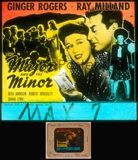 8v052 MAJOR & THE MINOR glass slide '42 Ginger Rogers poses as a young teen confusing Ray Milland!