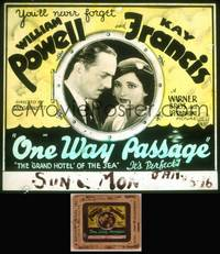 8v057 ONE WAY PASSAGE glass slide '32 William Powell & Kay Francis in the Grand Hotel of the seas!