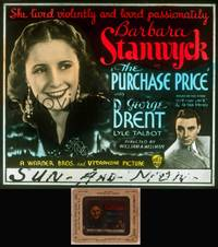 8v058 PURCHASE PRICE glass slide '32 bad Barbara Stanwyck lived violently & loved passionately!