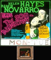 8v066 SON-DAUGHTER glass slide '32 Helen Hayes & Ramon Novarro made up to look Chinese!