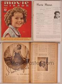 8v074 MOVIE MIRROR magazine February 1937, great c/u of cute Shirley Temple by James Doolittle!