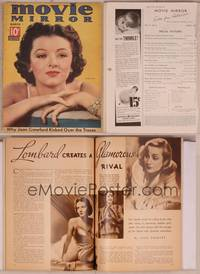 8v075 MOVIE MIRROR magazine March 1937, great close portrait of Myrna Loy by James Doolittle!