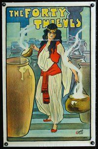 8x042 FORTY THIEVES linen English stage play poster c1900-1910 cool full-length art of female lead!