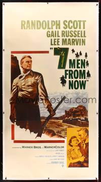 8y014 7 MEN FROM NOW linen 3sh '56 Budd Boetticher, full-length art of Randolph Scott with rifle!