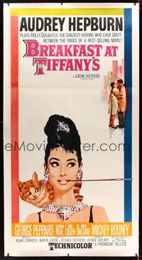 8y016 BREAKFAST AT TIFFANY'S linen 3sh '61 most classic artwork of sexy elegant Audrey Hepburn!