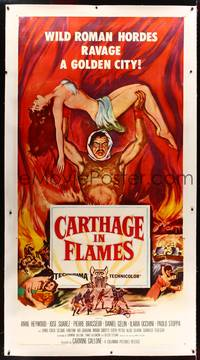8y017 CARTHAGE IN FLAMES linen 3sh '60 Cartagine in Fiamme, Anne Heywood, sexy pulp art!