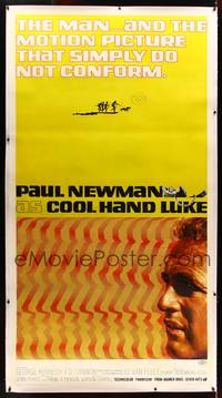 8y018 COOL HAND LUKE linen 3sh '67 Paul Newman prison escape classic, cool art by James Bama!
