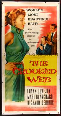 8y019 CROOKED WEB linen 3sh '55 different art of sexy undercover bad girl Mari Blanchard!