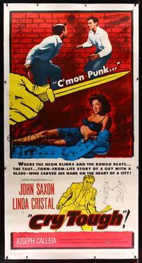 8y020 CRY TOUGH linen 3sh '59 John Saxon, sexy bad girl, where the neon blinks & the bongo beats!