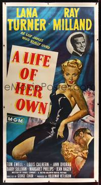 8y023 LIFE OF HER OWN linen 3sh '50 full-length art of sexiest Lana Turner, plus Ray Milland!