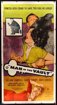8y025 MAN IN THE VAULT linen 3sh '56 sexy Anita Ekberg as a two-timing girl, too much for one man!