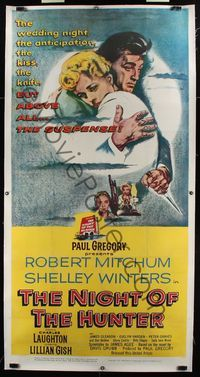 8y026 NIGHT OF THE HUNTER linen 3sh '55 Robert Mitchum, Shelley Winters, Laughton classic noir!