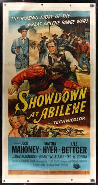 8y029 SHOWDOWN AT ABILENE 3sh '56 art of gun-shy sheriff Jock Mahoney beating up bad guy!
