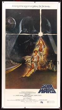 8y031 STAR WARS linen 3sh '77 George Lucas classic sci-fi epic, great art by Tom Jung!