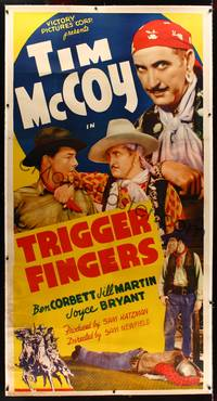 8y032 TRIGGER FINGERS linen 3sh '39 wacky close up of cowboy Tim McCoy disguised as a gypsy!