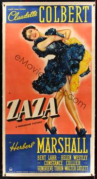 8y033 ZAZA linen 3sh '39 different full-length artwork of sexy singer Claudette Colbert!